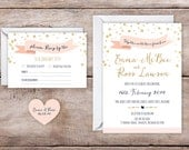 Printable Custom Rustic Gold Pink Navy Confetti Wedding Invitation Set