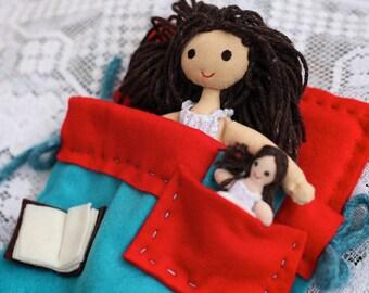 Doll - cloth doll play set for bedtime ritual, handmade, OOAK