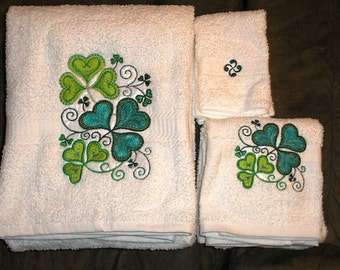 6 pc SET  BATh towels - St Patricks day Fancy Shamrocks  - Embroidered