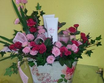 Everything Rosy Gift Set in Silk Arrangement