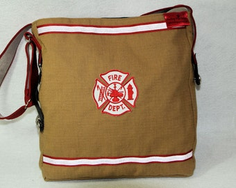 "The ""Line of Duty"" bag, firefighter turnout / bunker gear purse, tote, messenger bag, carryall"