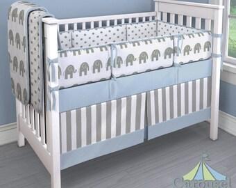 Boy Baby Crib Bedding: Custom Boy Crib Bedding Idea - Blue Elephants 3-Piece Bumper, Skirt, and Sheet Set by Carousel Designs