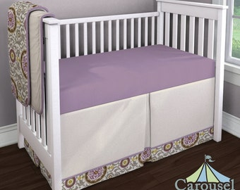 Girl Baby Crib Bedding Custom Girl Crib Bedding Idea - Violet Suzani 2-Piece Skirt and Sheet Set by Carousel Designs
