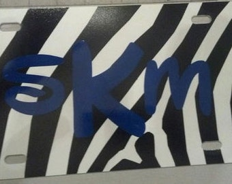 Personalized Zebra License Plate