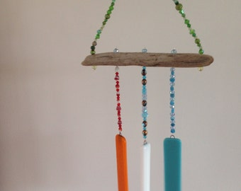 Bright fused glass windchime, indoors or out