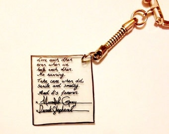 Greys Anatomy Meredith and Derrick Post It Note Keychain Charm