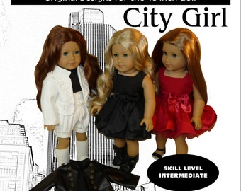 "City Girl Dress, Jacket and Shorts Pattern for American Girl & similar 18"" dolls"
