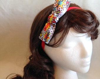 Comic Inspired Bow W/ Removable Elastic Headband