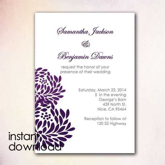 Items Similar To DIY Wedding Invitation Template