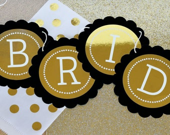 Black and Gold Banner Garland - Black and Gold Party Decor - Black and Gold Wedding Decorations - Metallic Gold Foil Banner - (EB3034FW)
