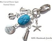 Nautical, Keychain, Bag Charm, Blue Gemstone, Nautical Theme Keychain, Live Your Dream Charm, Gemstone Keychain, Lighthouse, Starfish Charm