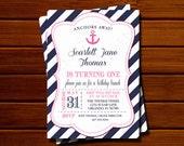 Girl Birthday Party Invitation - Striped, Modern, Navy Blue, Pink, Anchor, Nautical, Printable, Digital