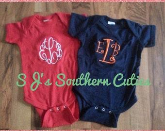 Monogrammed Baby Bodysuit, Baby One piece , Mongram Baby bodysuit