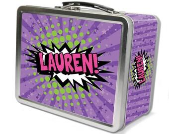 """Comic Pow!  """"Retro"""" Personalized Lunch Box -Purple"""