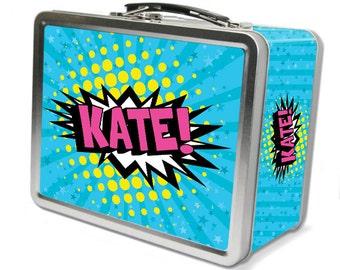 "Comic Pow!  ""Retro"" Personalized Lunch Box - Turqoise"