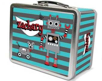 "Robot ""Retro"" Personalized Lunch Box"