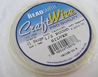 Silver Craft Wire Coiled 21 Gauge Half Round , Binding Wire, Silver Plated, Non-Tarnish, 4 Yards, Beadsmith, Wire Wrapping, Soft Temper