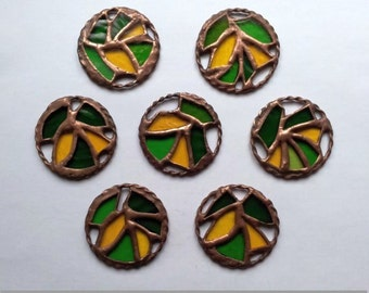 Stained Glass Elements for decorative pendant, 7 pcs. Home decor. Decorative glass. Handmade. DizArtEx.