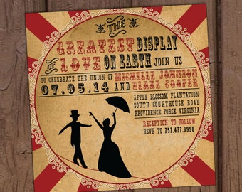 Vintage Circus Wedding Invitation