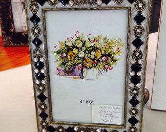 Enameled Jeweled Photo Frame