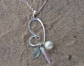 SALE..heart sea glass with mother pearl necklace