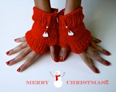 Chritsmas Fingerless Gloves / Mittens / Xmas Red / with White Heart Accessories - Phizzwizards