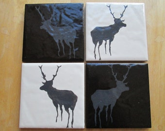 set of 4 Hand painted coasters