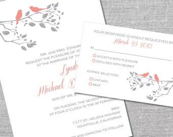 Printable Wedding Invitation and Reply Card | 5x7/3.5x5 | Love Birds