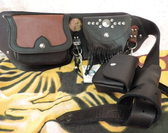 "Hand Made Leather Fanny Pack Biker Utility Belt ""UNIQUE""  L@@K!"
