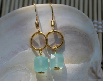 Gold and Chalcedony Mini Hoop Earrings
