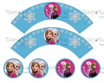 Frozen Cupcake Wrappers with toppers Lt Blue (Digital File Only)