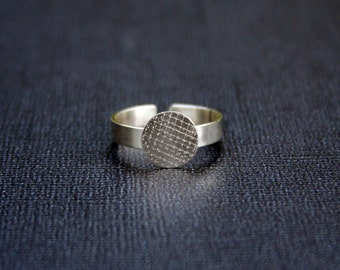 10mm disc 925 sterling silver ring base,silver pad ring blank, adjustable ring base.