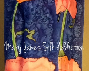 Hand painted silk scarf  pink poppies on a navy background, made to order
