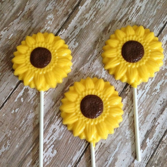 12 Sunflower Chocolate Lollipops Wedding Favors Birthday Party