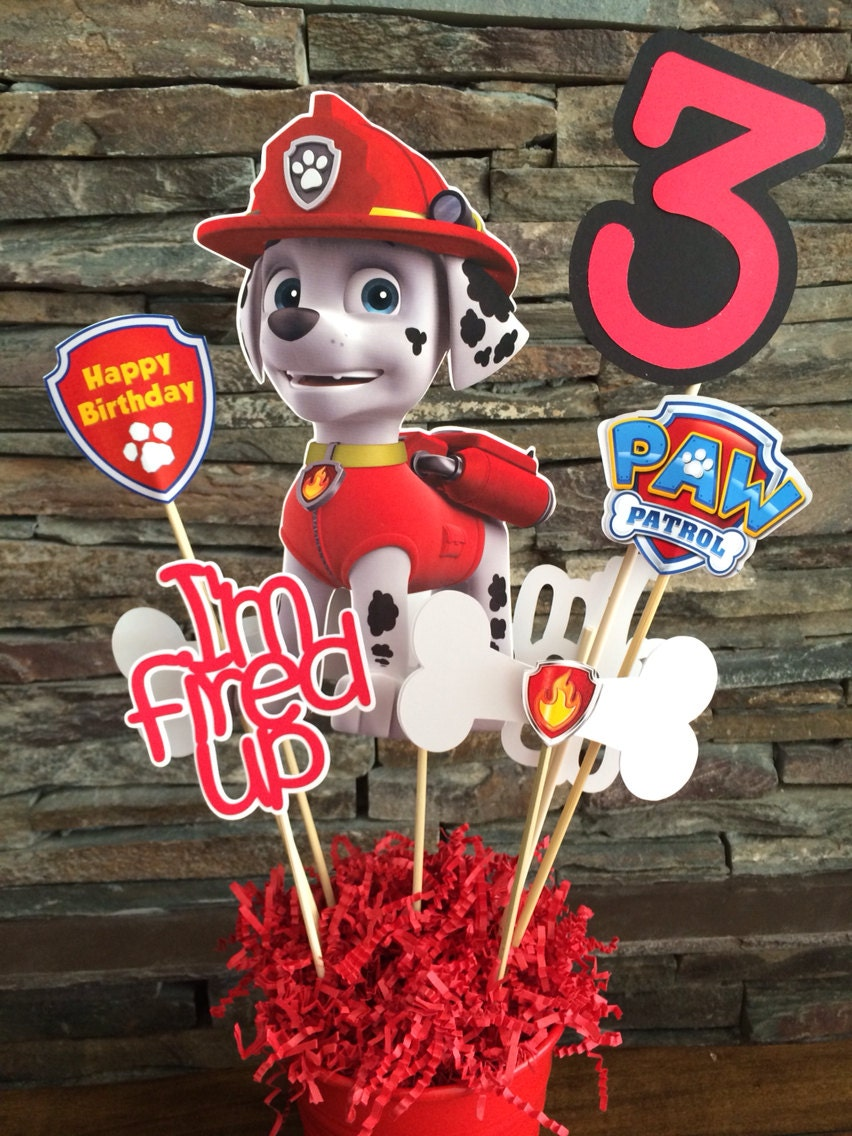 Custom marshall paw patrol centerpiece inserts only