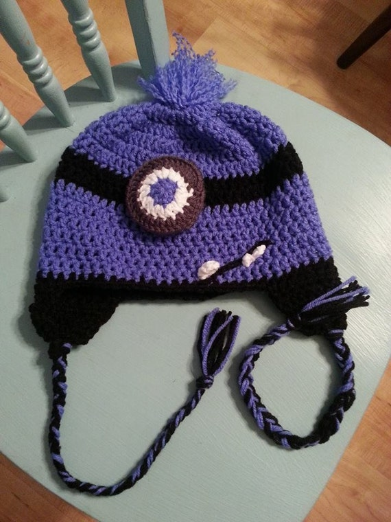 Crochet Purple Minion Hat