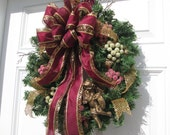 CHRISTMAS GLITZ WREATH ...Christmas in the City Door Wreath... Gold Cherub , Ornament Christmas Wreath  ... Seasonal Decor Holiday Wreath..
