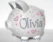 """Personalized Piggy Bank - Custom Hand-painted Ceramic - Elegant Hearts Design - Large Size (8"""" X 7.5"""" X 7"""") - Best Selling Item -Grey & Pink"""