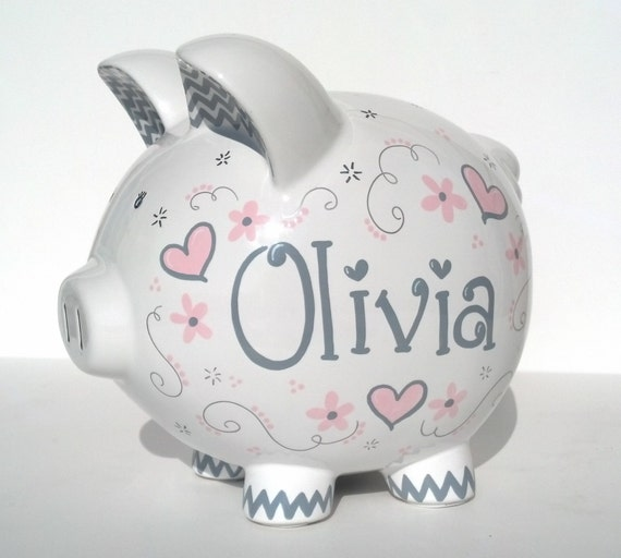 Personalized Piggy Bank Custom Hand Painted By Samseldesigns