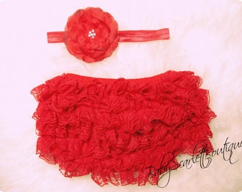 Red Baby Girl Lace Ruffle Bloomer,Diaper Cover and Headband Set