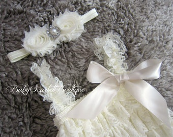 Ivory Lace Petti Romper with Headband Set