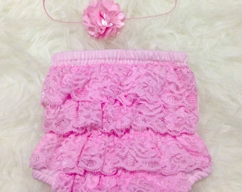 Baby Girl Lace Ruffle Bloomer,Diaper Cover and Headband Set,Available in 5 colors