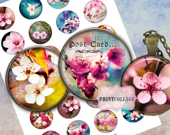 Cherry Blossom Cabochon images Digital Collage Sheet 1.5 inch 18 mm 14mm 1 inch round Printable images digital download Bottle Cap image c51