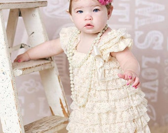 Cream lace petti dress - vintage lace dress - bridesmaid dress - flower girl dress - cream flower girl dress - cream lace petti dress