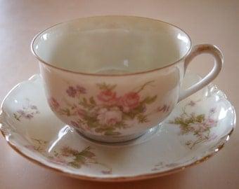 Thun Bohemia Czechoslovakia Moss Rose Floral Flower Tea Cup & Saucer