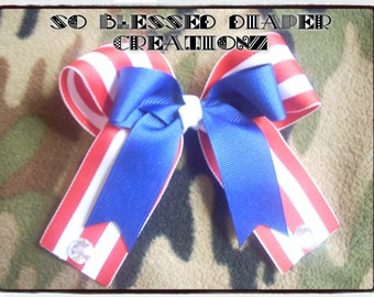 Red, White, & Blue USA Themed Tails Down Hair Bow