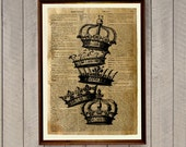 Royal decor Crowns poster Vintage illustration Dictionary print WA47