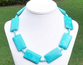 LARGE Turquoise Statement Necklace Turquoise Necklace Big Turquoise Rectangle Necklace Geometric Turquoise Necklace Huge Turquoise Bead 48mm