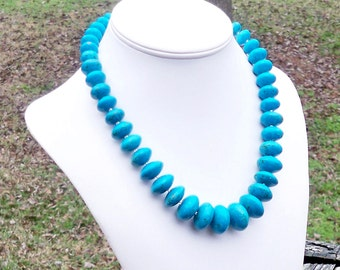 Lordes - GORGEOUS Graduated Chunky Turquoise Rondel Gemstone Beaded Necklace - Vivid Aqua Blue Color