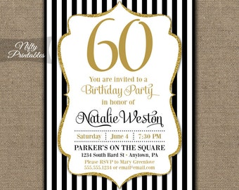 60th Birthday Invitations - Black & Gold Glitter 60 Bday Invites - Sixty Any Age - Sixtieth Birthday Printables, Black White Stripes - BGL